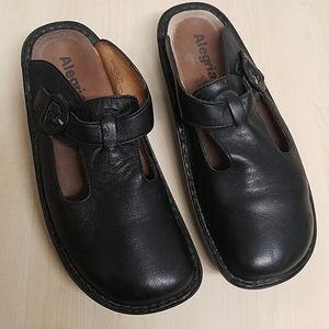 Allegra mules slides slip-ons black leather 10.5